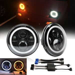 For Land Rover Defender 7In LED Headlights Hi/Lo DRL Amber Turn Signal Lamp DOT