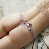 Women Sexy Thong Briefs Floral Lace Bow Underwear Lingerie G-string Panties