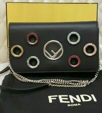 cbbcf1ecb7ab Fendi F Logo BAG CROSSBODY Wallet on a Chain NEW snakeskin BLACK