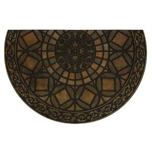 Entryway Door Floor Mat Rug Gothic Iron Brown Rubber Water Resistant Half Round