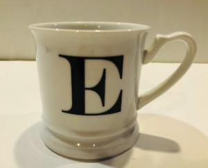 Williams Sonoma Initial Coffee Cup Mug Tea E Initial White Shaving Cup Ceramic