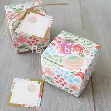 10x Vintage Floral Kraft Favour Box Wedding Bomboniere Baby Shower Box Chocolate