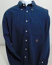Tommy Hilfiger Blue & Green Plaid Long Sleeve Button Down Shirt Mens XL