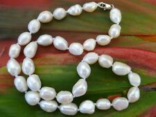 10-15 mm WHITE FRESHWATER PEARLS BAROQUE ODD SHAPES 46cm long NECKLACE