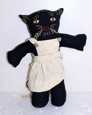 "Folkart ~ Vintage Hand Embroidered Stuffed Black Cat Doll w/ Dress? 17""H x 14""W"