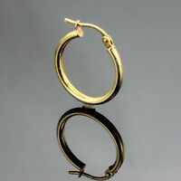 SINGLE 2.5 mm TUBULAR HOOP EARRINGS 14K YELLOW GOLD SIZE~3/4 INCHES
