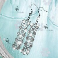 18k white gold made with Swarovski crystal filigree flower hook dangle earrings