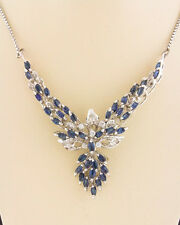 925 Sterling Silver Women's Natural Blue Sapphire Wt AAA CZ Stones Necklace 16""