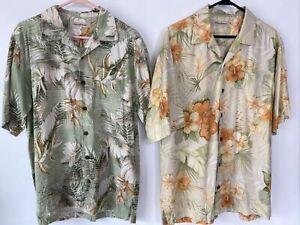 2 Tommy Bahama Mens Shirts M Silk Short Sleeve Floral Tropical Hawaiian (F)