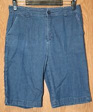 Womens Medium Wash Denim White Stag Bermuda Shorts Size 8 very good