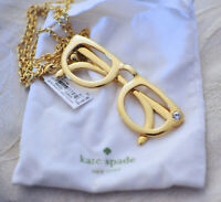 Kate Spade Authentic HANG IN THERE Spectacles Necklace w/Rhinestone Accent, NWT