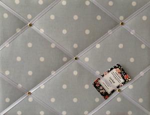 SALE Clarke Grey Dotty Handcrafted Fabric Notice Pin Memo Board Photo 40x30cm