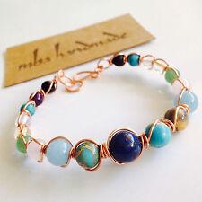 Women'S Lapis Citrine Quartz Mixed Gemstone Beads Copper Wire Wrapped Bracelet