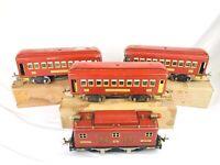 Lionel Standard Gauge PREWAR 347E Set Engine 8E 0-4-0, 337 338 Red & Cream Brass