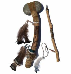 Native American Handmade Stone War Club Tomahawk Hammer + Arrow Indian