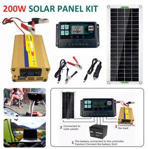Kit de panneau solaire 200W Chargeur de batterie 12V 220V pour RV Remorque