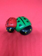 Vintage Ladybug Refrigerator Magnets Resin Red And Green Pair Very Old Smile