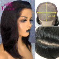 5*5 Scalp Cap HD Lace Front Wigs Straight Silk Base Human Hair Wigs Pre Plucked