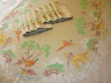 Old Bleach Irish Linen Double Damask Tablecloth & Napkin Set ~ Estate Hunt Scene