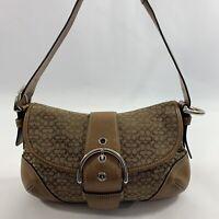Coach Soho Mini Bag Signature Canvas Leather Brown Tan Handbag J04J-6818
