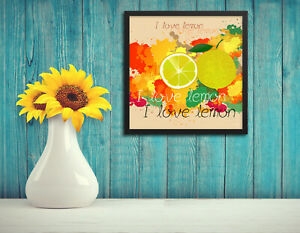 Wall art, I love lemon with colorful paint, Framed picture, Home decoration