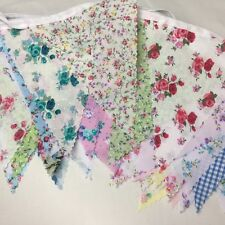 CLEARANCE HANDMADE FARIC BUNTING.FLORAL SHABBY CHIC.WEDDINDS,FETES AND PARTIES