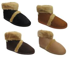 MENS COOLERS HARD SOLE FURRY SNUFF FLAT ANKLE SLIPPER BOOTS SHOES SIZE 7-12