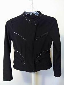 Doll House Studded Moto Jacket Coat Size M Black Studded Rock Punk Gothic Sexy