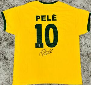 Brazil Pele Signed Soccer Jersey Autographed Pele Numbered Hologram