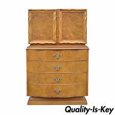 Vintage Hollywood Regency Romweber Burl Wood Dresser Chest Dorothy Draper Style