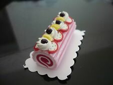 Strawberry Log Roll Cake Fruit Top Dollhouse Miniature Food  Bakery  Pastry