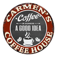 CPCH-0111 CARMEN'S COFFEE HOUSE Chic Tin Sign Decor Gift Ideas