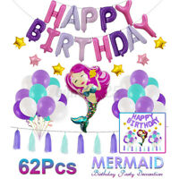 Mermaid Theme Foil Balloon Decor Baby Shower Girls Kids Birthday Party Supply