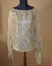 GUESS by MARCIANO Beige Burnout Silk Blend Ruched Shimmer Top Size S NWT