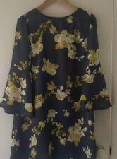 NEW Golden floral shift dress with tier bell sleeve , size 12