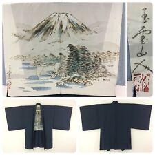 Japanese men's haori jacket for kimono, large, extralarge, Mt Fuji, silk(AC2639)