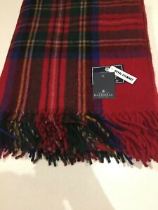 Tweed Large Wool Blanket Red Christmas Royal Stewart Tartan Check Scotland Cosy