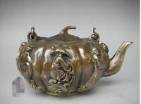 China antique bronze hand made Eight Immortals Teapot wine pot flagon teaset