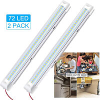 2X 72 LED Strip Lights BAR 12V Car Interior Lamp Camping Caravan Boat Cool White