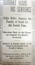 6 1897 newspapers THEODORE DURRANT SENTENCED TO DEATH for Murder BLANCHE LAMONT