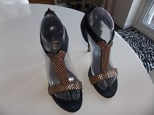 Aldo Size 5 Black T Bar Gold Rhinestone Ankle Straps Heels Shoes