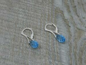 Contemporary Sterling Silver Faceted Topaz Drop Design Hook & Clip Earrings