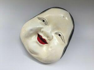 T0696 Japanisch Töpferei Noh Maske Vintage Damen Gesicht Innenraum Wandbehang