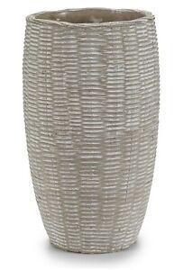 25cm Grey Vase Cement Distressed Finished Rattan Design Decorative Flower Vase