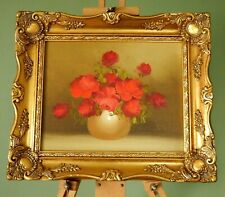 Vintage Oil Painting Canvas Still Life Flowers Gilt Wood Frame Antique Style #B