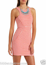 White Coral Pink Stripes Fitted Bodycon Illusion Racerback Keyhole Back Dress M