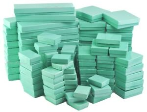 Teal Gift Boxes Glossy Teal Cotton Filled Jewelry Box for Jewelry 20~50~100~500