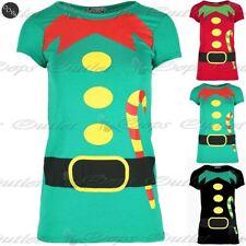 Womens Christmas T Shirt Ladies Xmas Elf Costume Candy Stick Print Jersey Top