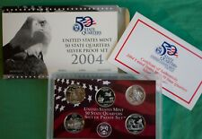 2004 S Proof State Quarter 90% Silver 5 Coin Statehood 25c Set with Box and COA
