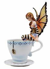 Ebros Gift Amy Brown Teacup Mocha Coffee Fairy Figurine Whimsical Faerie Figure